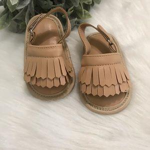 Adjustable fringe sandals (tan)